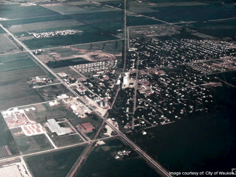 This is an aerial view of the city of Waukee.