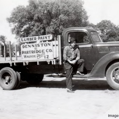 One of the delivery trucks for the Denniston & Partridge Lumber Company.