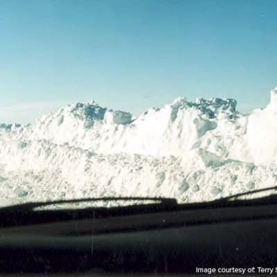 Hickman Road during the 1996 blizzard.