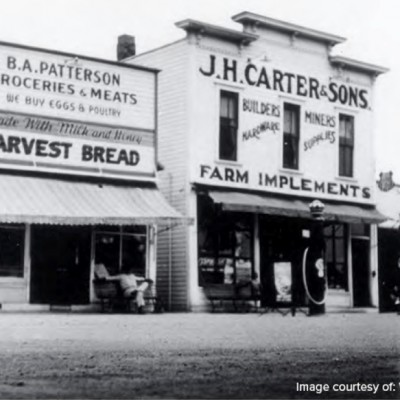 At J.H. Carter hardware store, miners bought mining essentials such as a pick, shovel, and the carbide used in the miners' lamps. The store also sold paint and other household items.