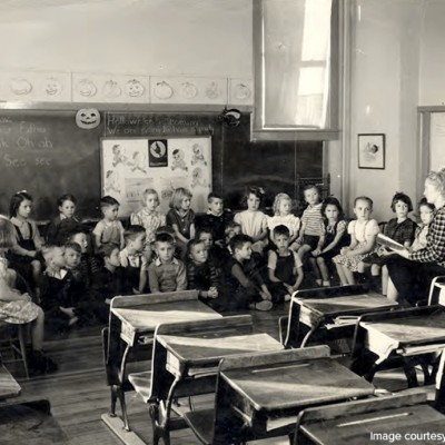 More than 40 kids attended the Mine School when it first opened. Six grades were taught in one school.
