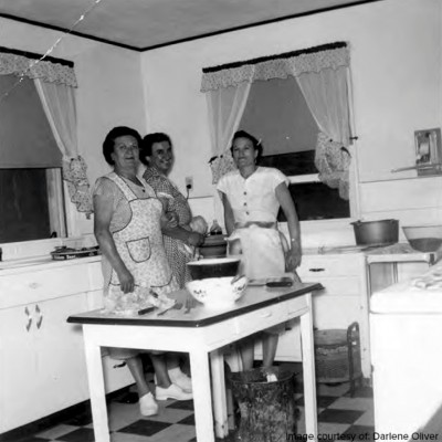 Women seemed to can all year long and made almost all of the family's food from scratch, including bread, cheese, and pasta. Families also butchered hogs to make their own salami and sausage, grinding the meat with a hand grinder.