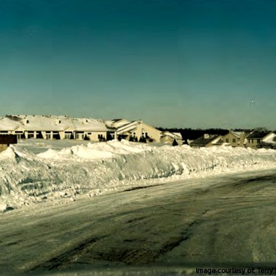 A view of new construction after a blizzard in 1996.