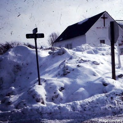 A snow storm hit Waukee and the Baptist Church.