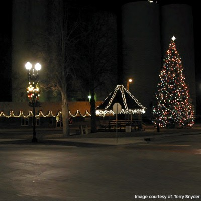 The Waukee Triangle at Christmas time in 2010.