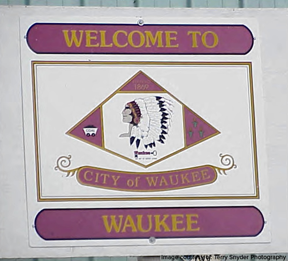 The sign as you entered Waukee in 1980s.